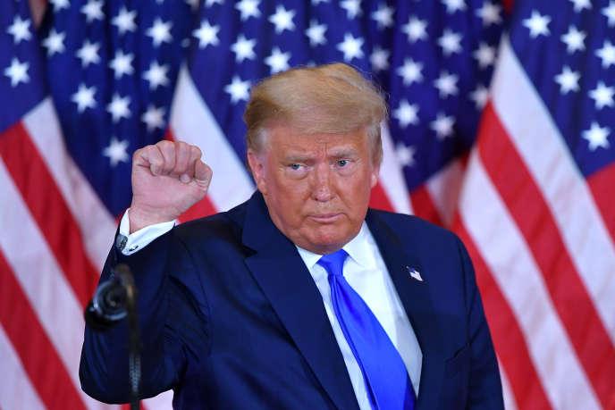 Le président des Etats-Unis, Donald Trump, lors de sa prise de parole le soir de l'élection présidentielle à la Maison Blanche (Washington), le 4 novembre 2020.