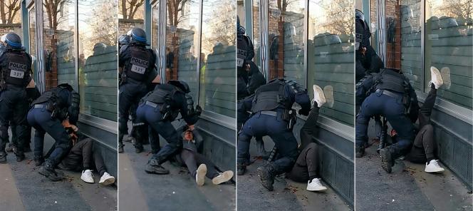 Saisies d'écran d'une vidéo prise par un manifestant montrant une intervention de la police en marge d'une manifestation des « gilets jaunes», le18 janvier, à Paris. Après publication de cette vidéo, une enquête IGPN a été ouverte.
