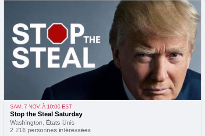 Page appelant à une manifestation« Stop the Steal» organisée pour le 7 novembre à Washington.