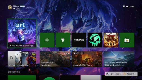 Le menu d'accueil de la Xbox Series X est exactement le même que celui qu'utilise la Xbox One depuis le mois d'août.