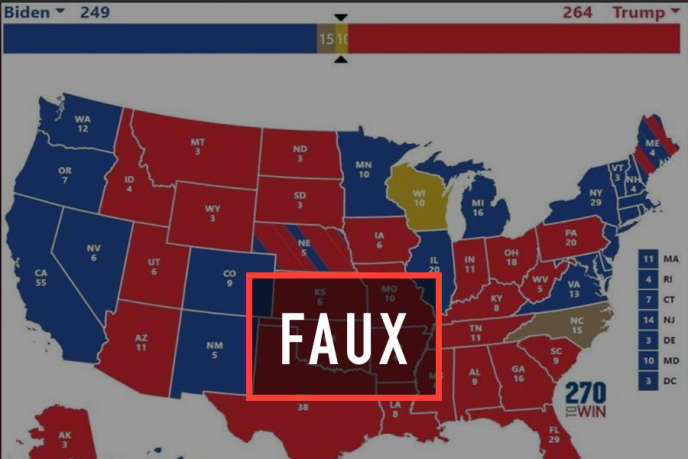 Une carte diffusée par le comité Trump France fait croire que Donald Trump a remporté des Etats encore indécis.