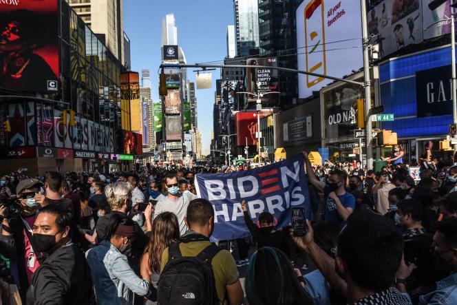 A Times Square, à New York, le 7 novembre 2020.