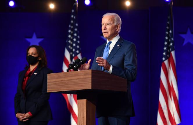 L'intervention de Joe Biden, qui s'estime proche de la victoire, avec à ses cotés Kamala Harris, a duré sept minutes, vendredi 6 novembre soir, àWilmington (Delaware).