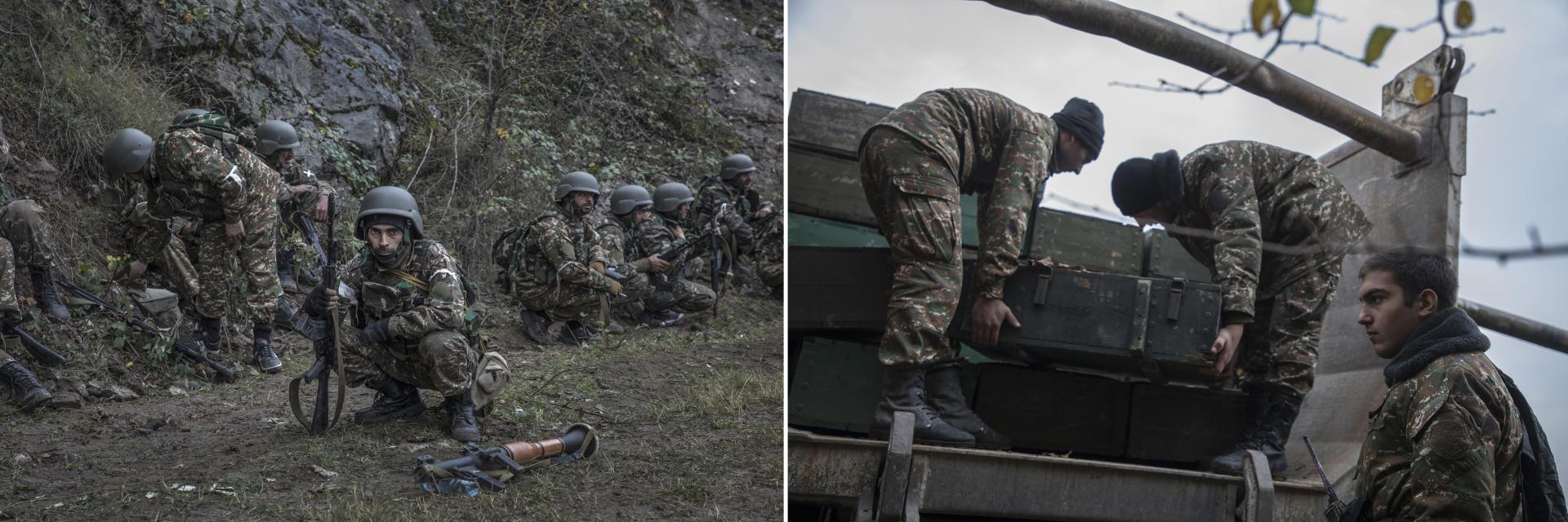 Des soldats karabakhtsis entre Chouchi et Stepanakert, sur la route exposée au snipers et à l'artillerie azerbaïdjanaise (à gauche). Les soldats d'une unité de chars karabakhtsis déchargent leurs munitions à l'entrée de Chouchi, sur la route qui mène à Stepanakert (à droite),Haut-Karabakh, le 6 novembre.