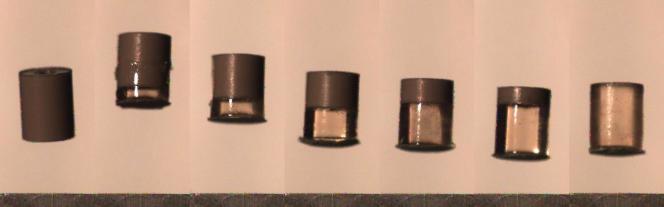 Lancés par un ressort, des projectiles, contenant plus ou moins de gel élastique à leur base, montent plus ou moins haut.
