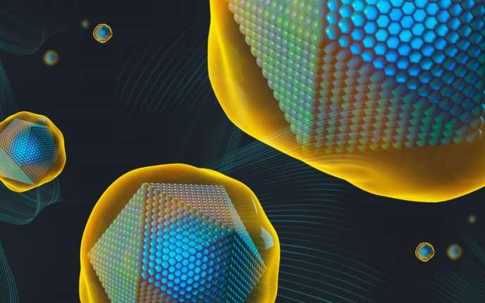 Vue d'artiste denanoparticules d'oxyde d'hafniumcomposant le produit NBTXR3 utilisé pour renforcer certains traitements anticancéreux.