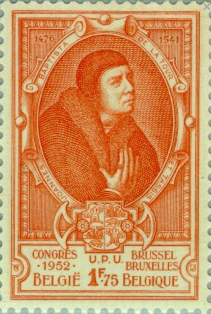 L'empereur Charles-Quint nomme Jean-Baptiste de La Tour et Tassis (1476-1541) maître général des postes en 1520. Timbre belge paru en 1952.