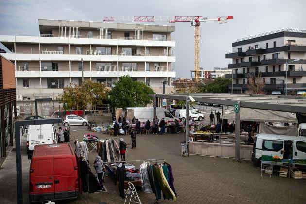 Près de la station de métroTrois-Cocus,dans lequartier des Izards, à Toulouse, où une fusillade a éclaté le 10 août faisant un mort et deux blessés.