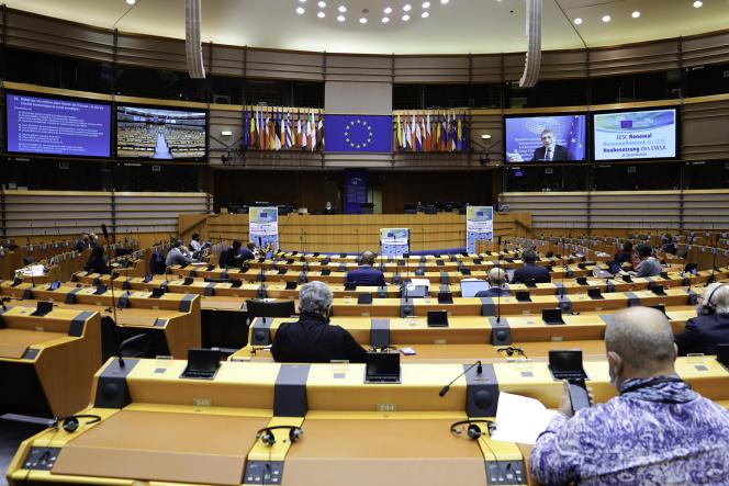 Au Parlement européen, le 29 octobre 2020.