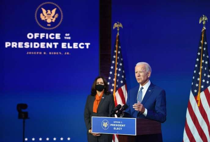 Joe Biden lors d'un discours évoquantla première réunion d'un groupe de travail parallèle sur le coronavirus,à Wilmington (Delaware), le 9 novembre.