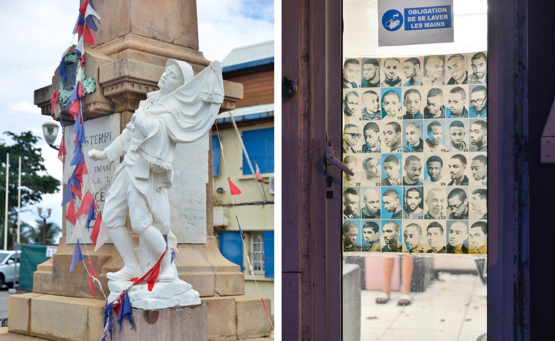 A droite,un salon de coiffure dans le centre de Pointe-à-Pitre. A gauche, un monument aux morts devant la mairie de Capesterre-Belle-Eau.
