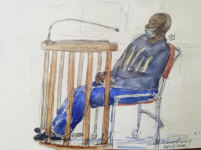 Croquis d'audience lors de la comparution de Félicien Kabuga devant la cour d'appel de Paris, le 20mai 2020.