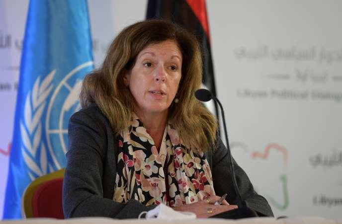 L'émissaire par intérim de l'ONU en Libye, Stephanie Williams, s'exprime lors du Forum de dialogue politique libyen à Tunis (Tunisie), le 9novembre2020.