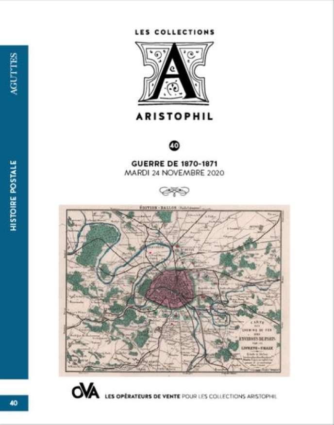 Catalogue de la vente, avec plan de Paris envoyé par ballon monté.