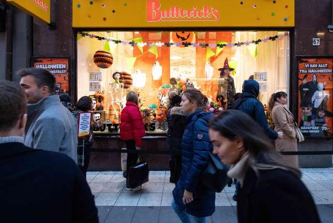 Dans le centre deStockholm, le 30 octobre.