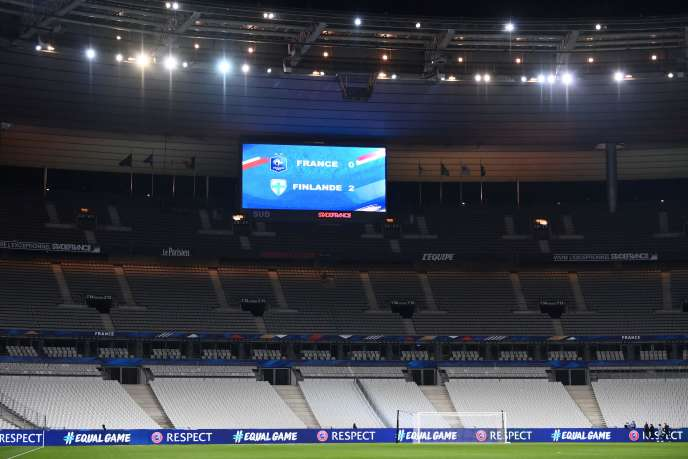 Lors du match France-Finlande, au Stade de France, à Saint-Denis (Seine-Saint-Denis), le 11 novembre 2020.