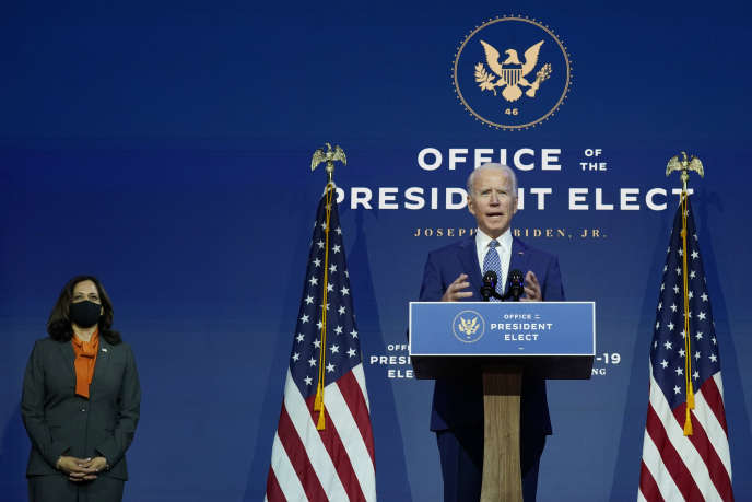 Le président élu, Joe Biden, et sa vice-présidente, Kamala Harris, le 9 novembre à Wilmington (Delaware).