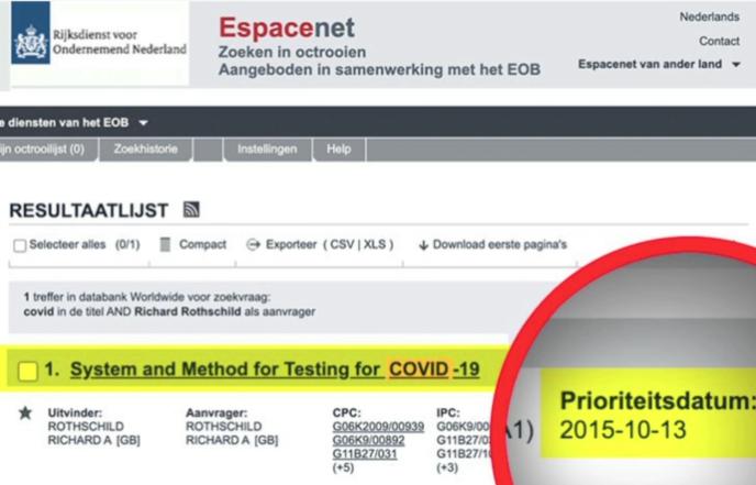 Ce document, montré dans le documentaire «Hold-up», est censé prouver qu'un brevet destiné à diagnostiquer le Covid-19 avait déjà vu le jour en 2015.
