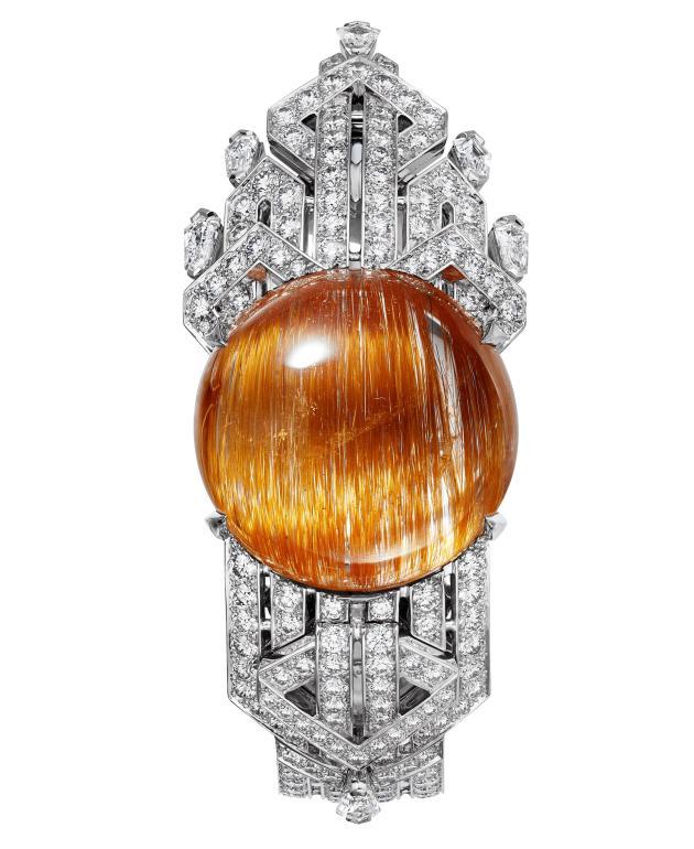 Montre-bracelet Soreli, en or gris, quartz rutile et diamants, mouvement à quartz. Collection Magnitude (2019).