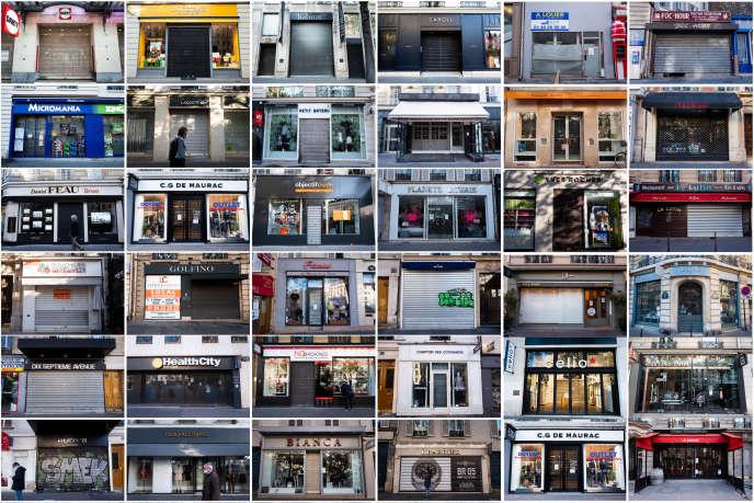 Montage photo de commerces considérés «non essentiels» fermés lors du second confinement, dans le quartier des Ternes, à Paris.