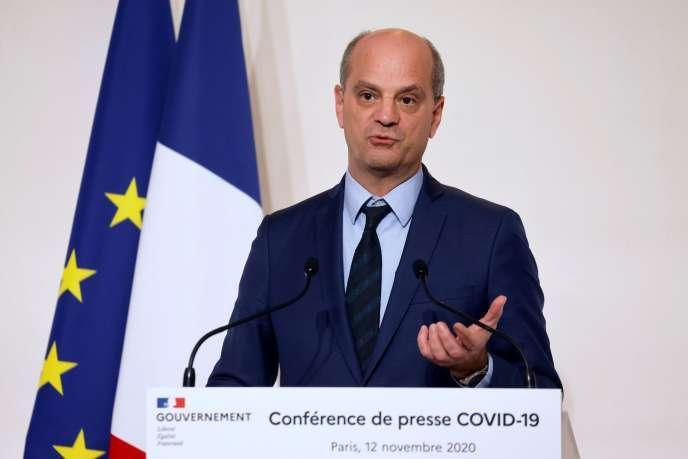 Jean-Michel Blanquer, lors d'un point sur la situation sanitaire enFrance,le12novembre 2020.