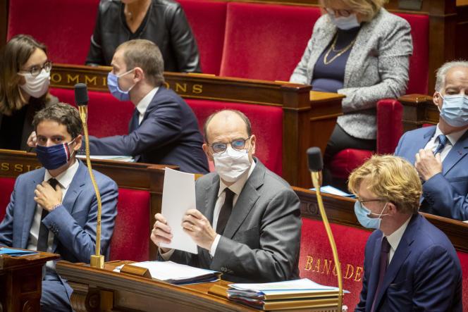 Le premier ministre, Jean Castex, à l'Assemblée nationale, le 29 octobre à Paris.