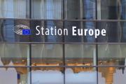 Photo : Parlement Européen, Station Europe, ancienne gare reconvertie en centre d'informationBruxelles,Belgique