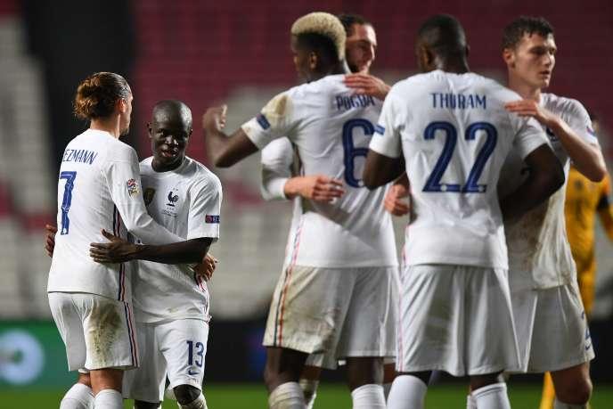 Les joueurs français après leur victoire contre le Portugal, le 14novembre2020.