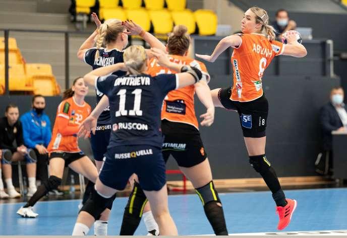 Match de Ligue des champions de handball féminin – Odense Handball contre CSKA Moscou, à Odense, au Danemark, le 15 novembre 2020.