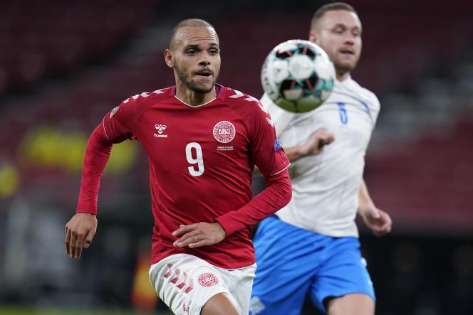 Martin Braithwaite sera l'un des leaders de l'attaque du Danemark. Il portera le numéro 9, comme en club, au FC Barcelone. Ici, lors du match opposant le Danemark à l'Islande en Ligue des nations, le 15 novembre 2020, à Copenhague.