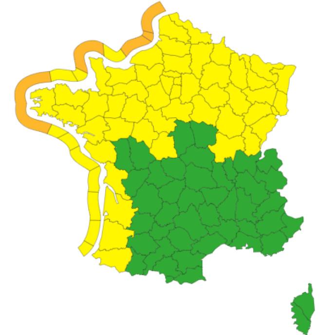 Les côtes de cinq départements sont placés en vigilance orange.