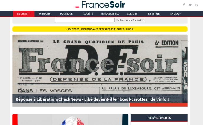 Une du journal« France-Soir» du 8novembre 1944, sur le site du média.