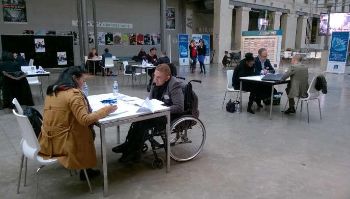 Lors de la Semaine européenne pour l'emploi des personnes handicapées, à Paris, le 14 novembre 2016.