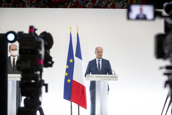 Jean-Michel Blanquer lors d'une conférence de presse le 29 octobre.
