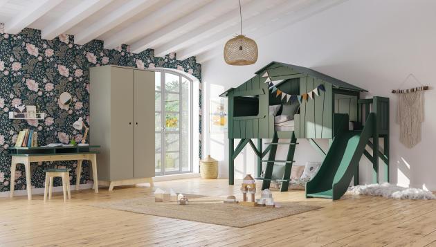 Lit cabane avec toboggan chezMathy by Bols.