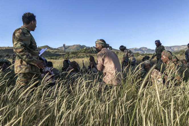 Des miliciens amhara combattant aux côtés de l'armée fédérale contre les forces du Tigré, près de Bahir Dar, en Ethiopie, le 10novembre 2020.