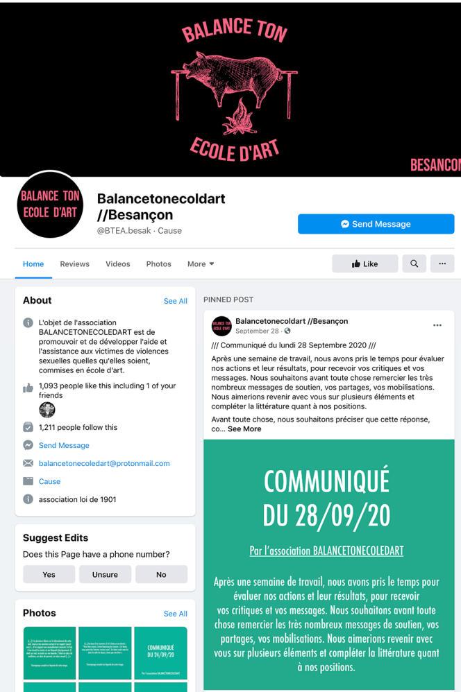 Une dizaine de témoignages ont été postés sur Facebook et Instagram sous la bannière «Balance ton école d'art» de Besançon. L'un d'eux fait état du viol d'une étudiante par un enseignant.