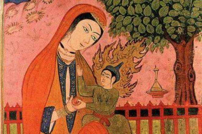 Marie et son fils Jésus, miniature persane.