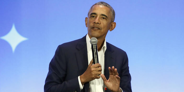 """FILE - This Feb. 19, 2019, file photo shows former President Barack Obama speaking at the My Brother's Keeper Alliance Summit in Oakland, Calif. Obama's """"A Promised Land"""" sold nearly 890,000 copies in the U.S. and Canada in its first 24 hours, putting it on track to be the best selling presidential memoir in modern history. (AP Photo/Jeff Chiu, File)"""