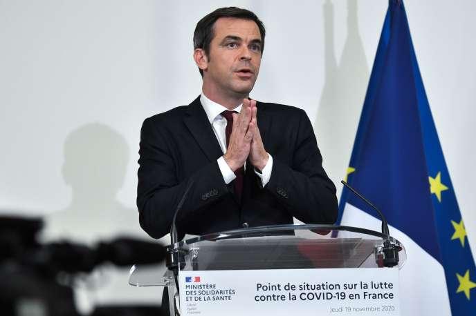 Le ministre de la santé Olivier Véran, lors de son point hebdomadaire sur la pandémie de Covid-19, le 19 novembre à Paris.