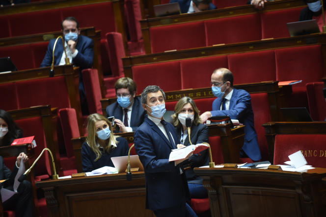Le ministre de l'intérieur lors du débat sur l'article 24 de la loi «sécurité globale», à l'Assemblée nationale, le 20 novembre.