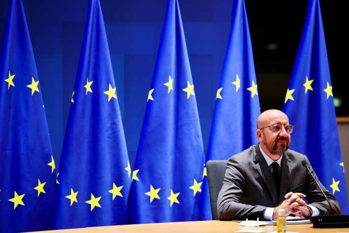 Le président du Conseil de l'Europe, Charles Michel, en visioconférence avec les chefs d'Etat et de gouvernement européens depuis Bruxelles, le 19 novembre.