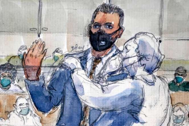 L'ancien militaire américain Aleksander Skarlatos témoigne au procès de l'attentat du Thalys, à Paris, le 20 novembre.