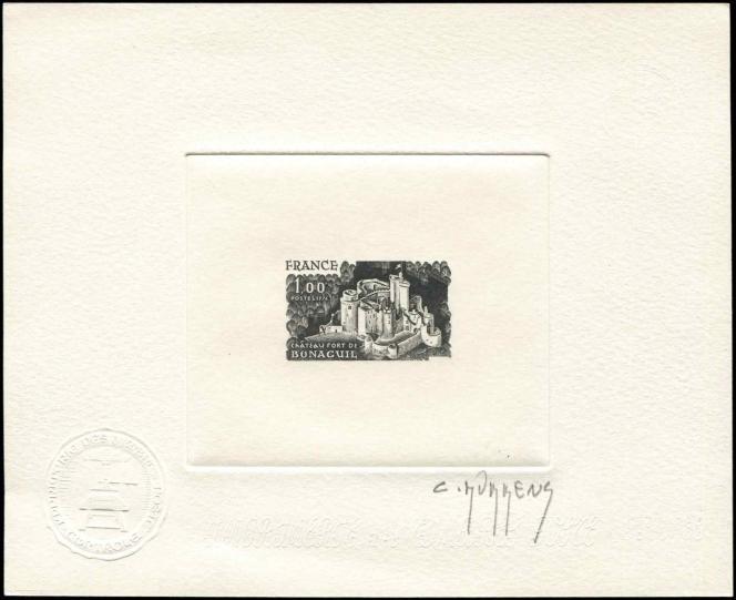 « Château fort de Bonaguil», Lot-et-Garonne. Timbre paru en 1976. Epreuve d'artiste signée Claude Durrens (1921-2002), Grand Prix de Rome en taille-douce en 1952, auteur de nombreux timbres-poste.