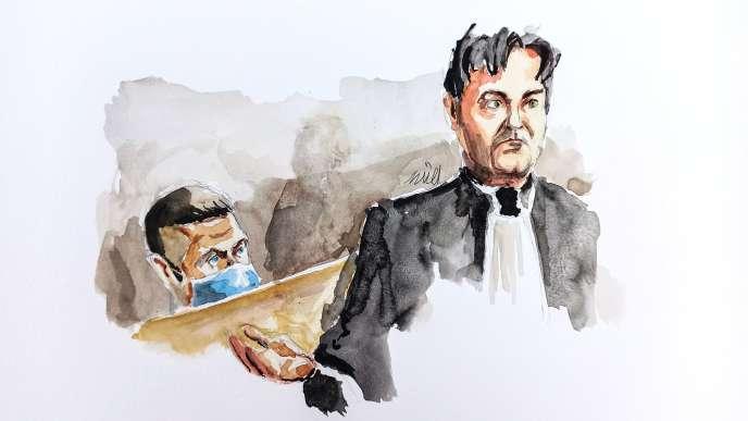 Jonathann Daval et son avocat, Randall Schwerdorffer, à la cour d'assises de la Haute-Saône, le 21 novembre.
