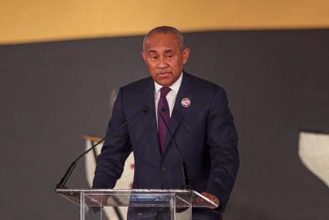 Ahmad Ahmad, président malgache de la Confédération africaine de football, lors d'une conférence de presse au Caire (Egypte), le 21 janvier 2020.