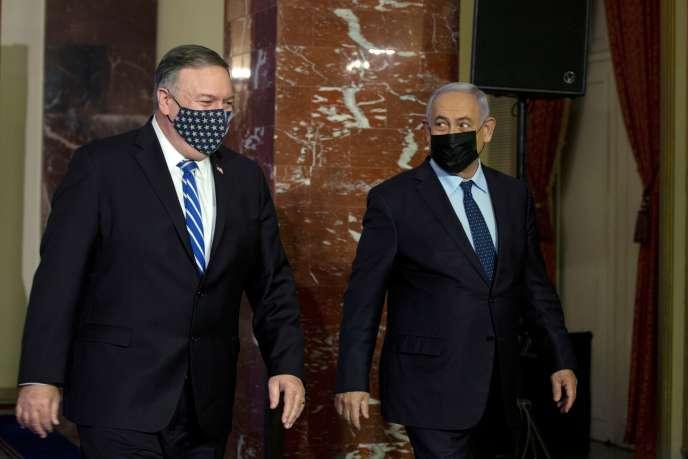 Le secrétaire d'Etat, Mike Pompeo, et le premier ministre israélien, Benyamin Nétanyahou, le 19 novembre à Jérusalem.