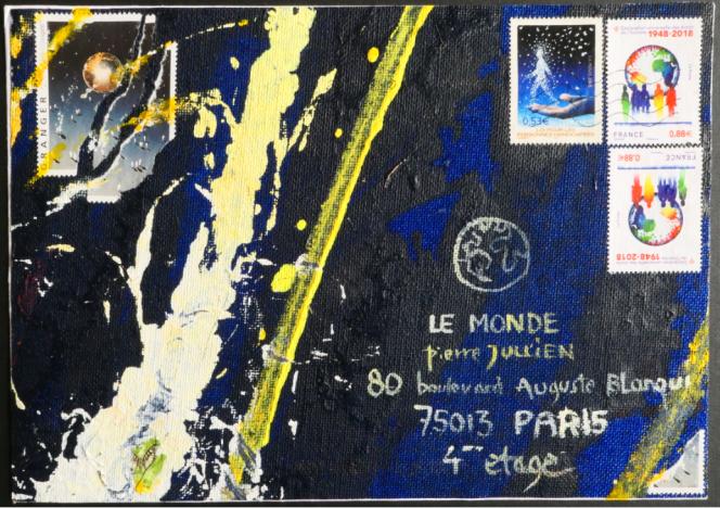 Mail art: enveloppe réalisée avec un fragment d'acrylique sur toile de Michel Granger. Les timbres-poste (et la vignette, dans le coin supérieur gauche de l'enveloppe) sont de Michel Granger.