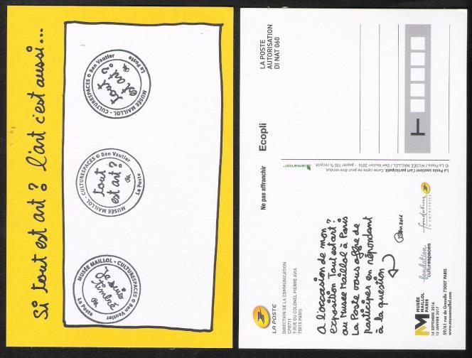 Carte postale hors commerce, avec tampons dessinés par Ben pour son exposition au Musée Maillol, à Paris, en 2016-2017.