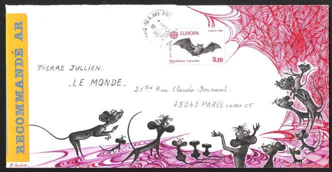 Enveloppe illustrée par Pierrette Lambert, avec un timbre de Pierrette Lambert, ayant circulée par La Poste (2001).